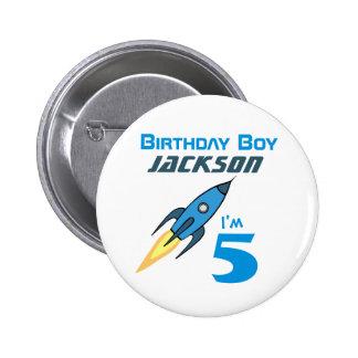 Blue Retro Rocketship Birthday Boy Personalized 2 Inch Round Button