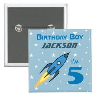 Blue Retro Rocketship Birthday Boy Personalized 2 Inch Square Button