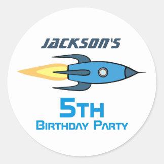 Blue Retro Rocketship Birthday Party Personalized Round Sticker