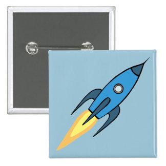 Blue Retro Rocketship Cute Cartoon Design 2 Inch Square Button