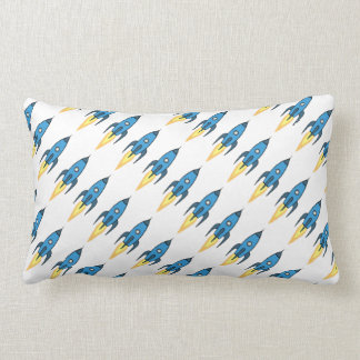Blue Retro Rocketship Cute Cartoon Design in White Lumbar Pillow
