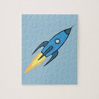 Blue Retro Rocketship Cute Cartoon Design Puzzles