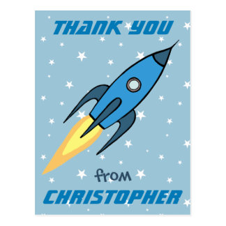 Blue Retro Rocketship Cute Personalized Thank You Postcard