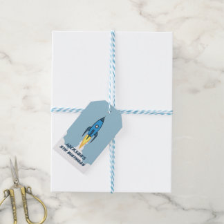 Blue Retro Rocketship Personalized Birthday Party Gift Tags
