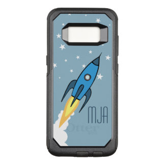 Blue Retro Rocketship Personalized Monogram Kids OtterBox Commuter Samsung Galaxy S8 Case