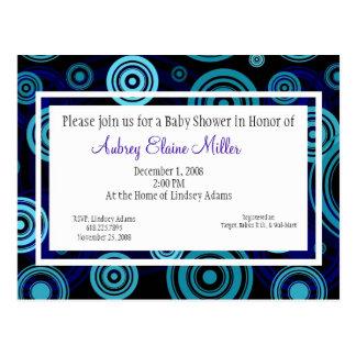Blue Retro Targets Baby Shower Invitation Postcard