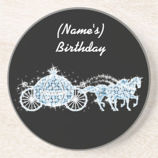 Blue Rhinestone Cinderella Carriage Coaster