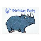 Blue Rhino 6th Birthday Card
