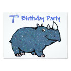 Blue Rhino 7th Birthday Card