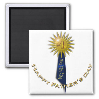 Blue Ribbon #1 Father's Day To Son Square Magnet