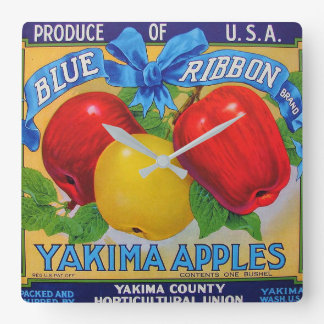 Blue Ribbon Brand Apple Crate Label Square Wall Clock