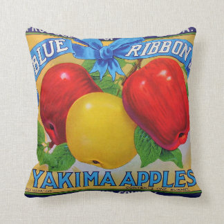 Blue Ribbon Brand Apple Crate Label Throw Pillow