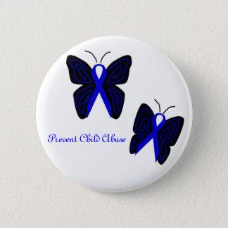 Blue Ribbon butterflies Prevent Child Abuse button