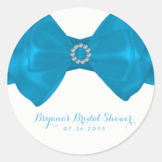 Blue Ribbon & Diamonds Bridal Shower Elegant Favor Classic Round Sticker