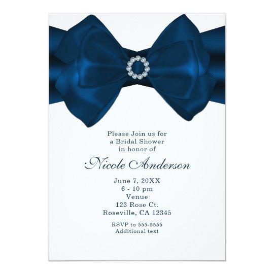 Blue Ribbon & Diamonds Bridal Shower Invitations