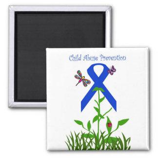 Blue ribbon flower Child Abuse Prevention magnet