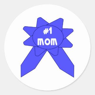 Blue Ribbon Mom #1 Round Stickers