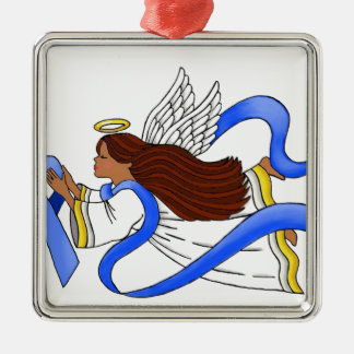 """""""Blue Ribbon of Awareness""""  Ethnic Angel Silver-Colored Square Ornament"""