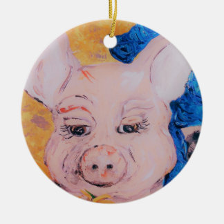 Blue Ribbon Pig Ceramic Ornament
