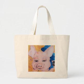 Blue Ribbon Pig Large Tote Bag