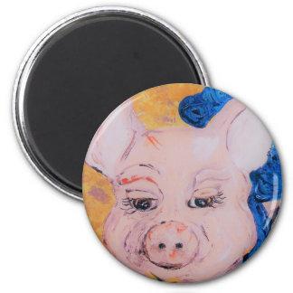 Blue Ribbon Pig Magnet