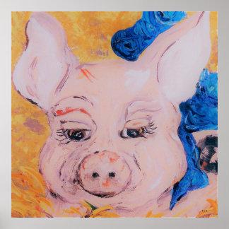Blue Ribbon Pig Poster