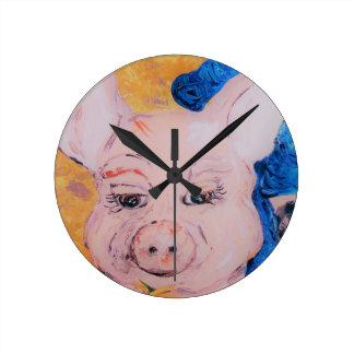 Blue Ribbon Pig Round Clock