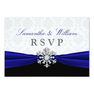Blue Ribbon Winter Wedding RSVP Announcement