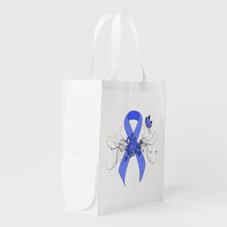 Blue Ribbon with Butterfly Grocery Bags