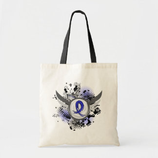 Blue Ribbon With Wings Colon Cancer Tote Bag