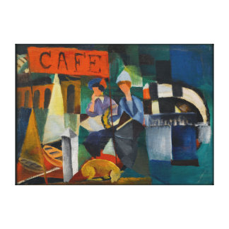 Blue Rider Cafe Expressionist Art Reproduction Canvas Print