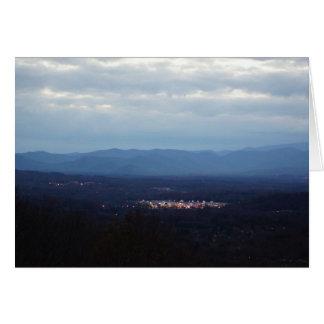 Blue Ridge Mountains ~ A Little Town Glows Note Card