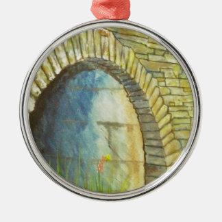 Blue Ridge Tunnel Silver-Colored Round Ornament