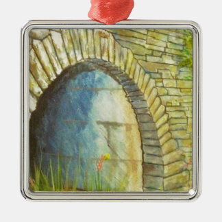 Blue Ridge Tunnel Silver-Colored Square Ornament