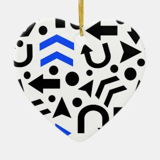 Blue right direction ceramic heart ornament