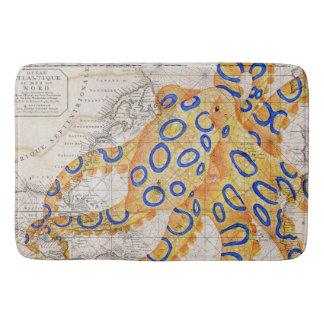 Blue Ring Octopus Map Bath Mat