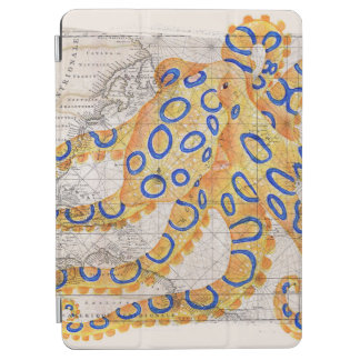 Blue Ring Octopus Map iPad Air Cover