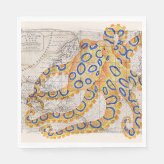 Blue Ring Octopus Map Paper Napkin
