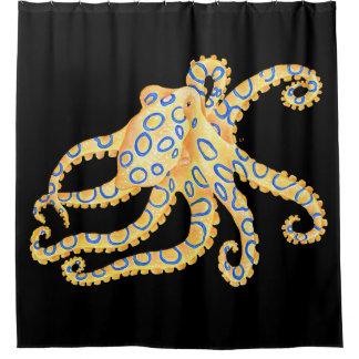 Blue Ring Octopus on Black