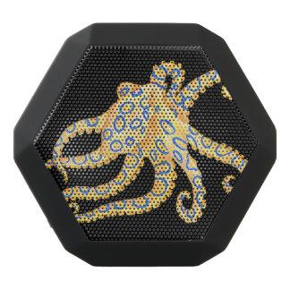Blue Ring Octopus on Black Black Bluetooth Speaker