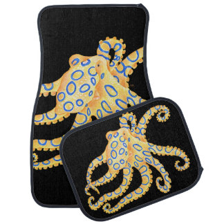 Blue Ring Octopus on Black Car Mat