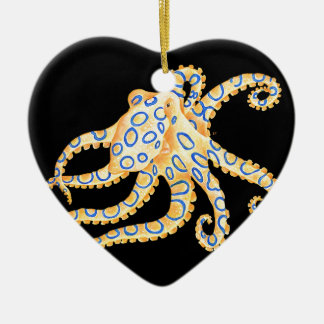 Blue Ring Octopus on Black Ceramic Ornament