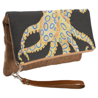Blue Ring Octopus on Black Clutch