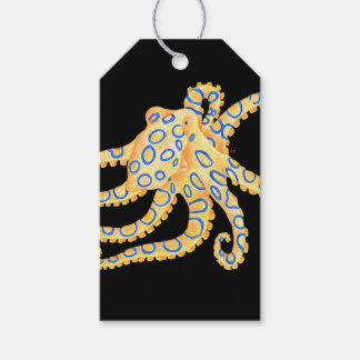 Blue Ring Octopus on Black Gift Tags