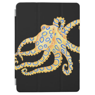 Blue Ring Octopus on Black iPad Air Cover