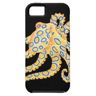 Blue Ring Octopus on Black iPhone 5 Cover