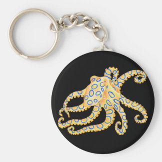Blue Ring Octopus on Black Keychain