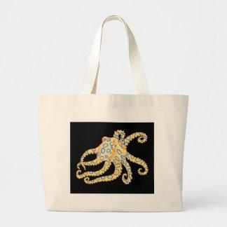 Blue Ring Octopus on Black Large Tote Bag