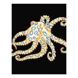 Blue Ring Octopus on Black Letterhead