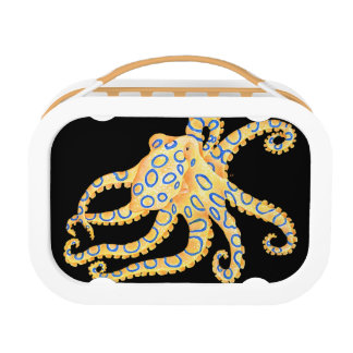 Blue Ring Octopus on Black Lunch Box
